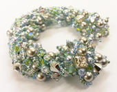 Encrusted Beadwork Bracelet Jewellery Making Kit with SWAROVSKI® ELEMENTS crystal and pearl beads Silver and Green Tones